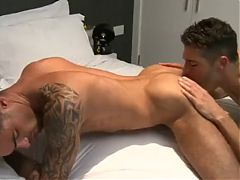 Tattooed guys ass pounding